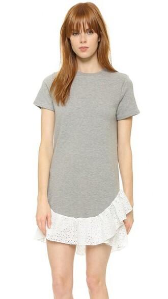 dress sweatshirt dress ruffle grey heather grey