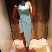 leg split,formal dress,light blue,boutique,futuristic,dress