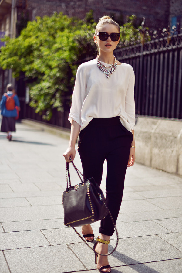 kayture pants shoes bag jewels sunglasses pants shirt necklace black and white outfit blouse clothes
