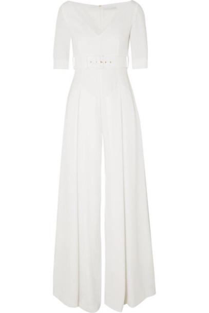 Emilia Wickstead - Belted Cloqué Jumpsuit - White