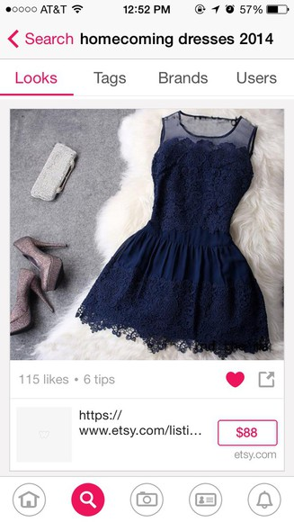 cap sleeves navy blue lacy dress