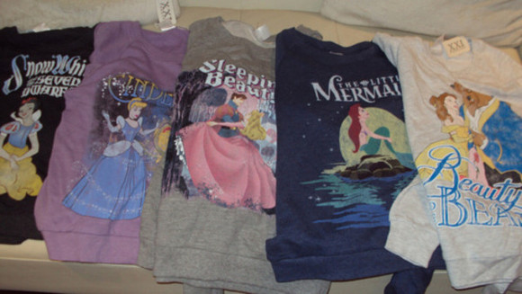 sweater beauty and the beast sleeping beauty disney princess ariel the little mermaid cinderella snow white