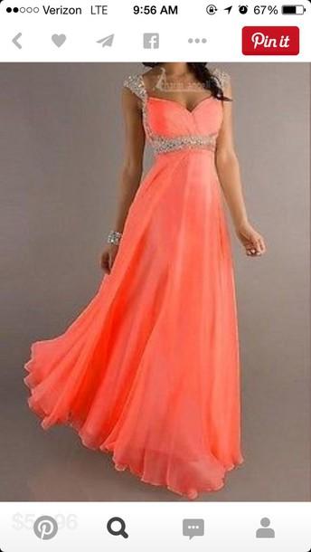 dress coral prom dress
