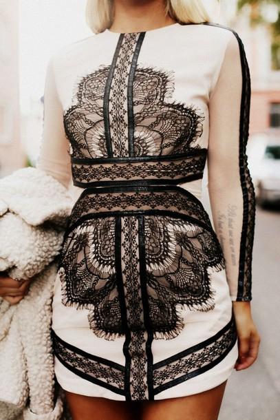 dress asos lace mini dress black and nude black nude