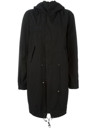coat parka women cotton black