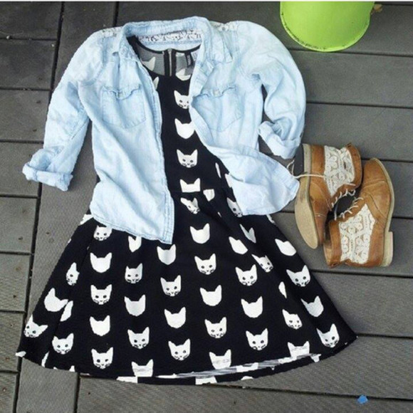 cats shoes black and white white and black cat dress white cats kitties kitty