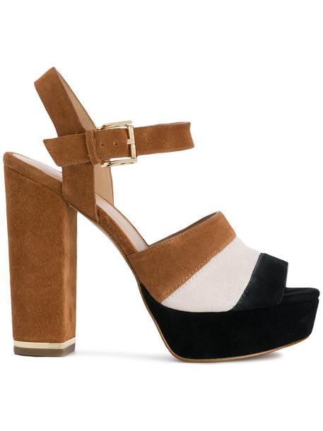 MICHAEL Michael Kors women sandals platform sandals leather suede brown shoes