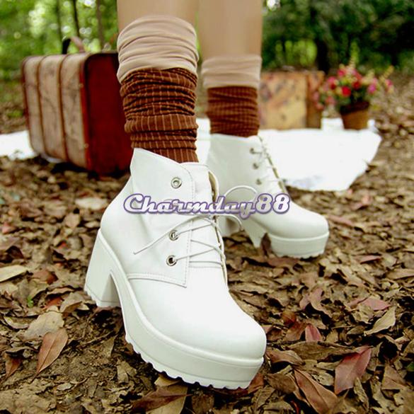 Vintage women ladies sandals c1my high heel platform short boots 2 color fashion