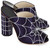 Navy Satin Spider Web Mules
