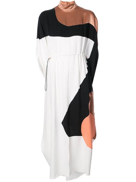 Roksanda dress midi dress women midi drawstring silk grey metallic