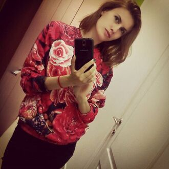 sweater fall sweater printed sweater print selfie girl red sweater floral flowers winter sweater roses fusion