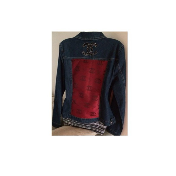 blue beautiful red jacket chanel style jacket chanel logo chanel inspired denim jacket jeans tumblr tumblr girl rhinestones black