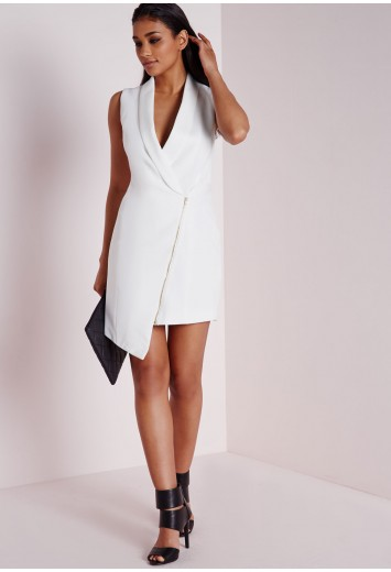 Missguided - Crepe Sleeveless Blazer Dress White