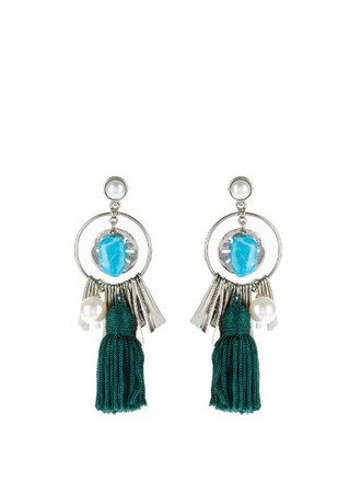 tassel earrings silver green jewels