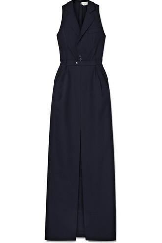 gown navy wool dress