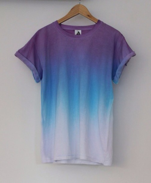 T Shirt Ombre Hipster Grunge Blue Tie Dye Shirt And