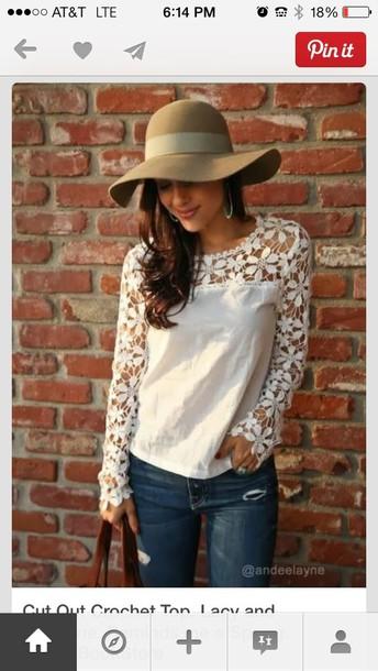 blouse lace white flowers jeans hat