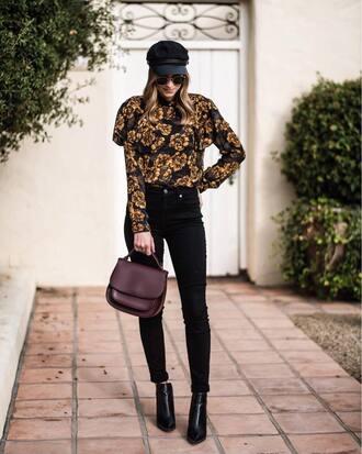 blouse hat tumblr floral denim jeans black jeans fisherman cap bag boots ankle boots