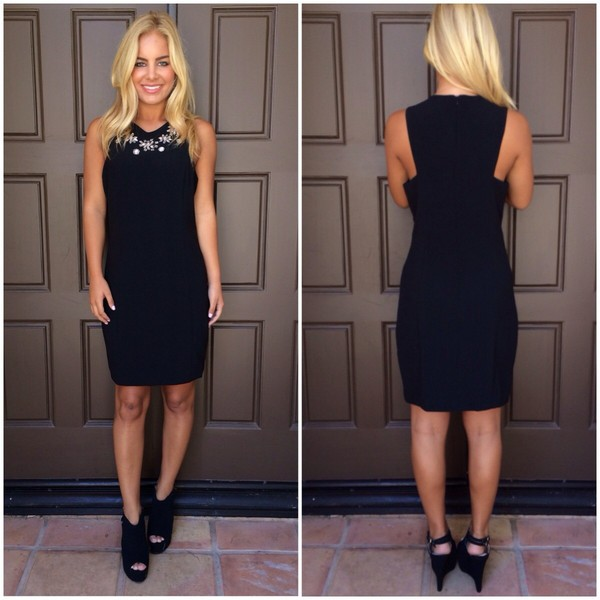 Black Embellished neck bodycon dress