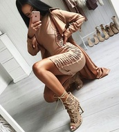 dress,nude,beige,bandage,mini,sexy,bodycon,skirt,outfit,nightout,heels,coat,jacket,suede,sandal heels,bodycon dress,lace up,lace up dress,party dress,sexy party dresses,sexy dress,party outfits,sexy outfit,summer dress,summer outfits,spring dress,spring outfits,fall dress,fall outfits,classy dress,elegant dress,cocktail dress,cute dress,girly dress,date outfit,birthday dress,clubwear,club dress,homecoming,homecoming dress,wedding clothes,wedding guest,dope