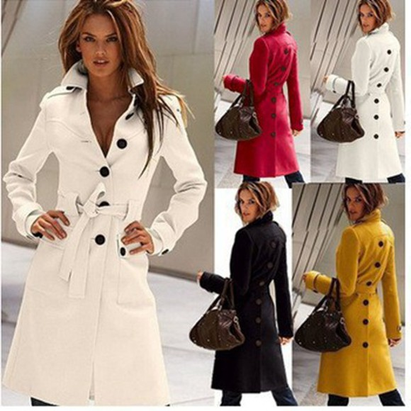 women jacket coat winter coat long coat woolen Belt buttons ladies clothes outwear trench coat
