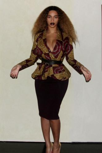 jacket skirt beyonce african print