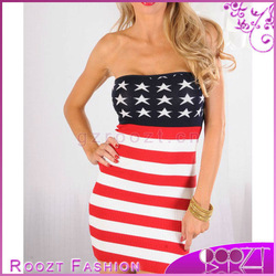 2013 summer american flag sweater knit tube body hugging mini dress woman dress rd0452