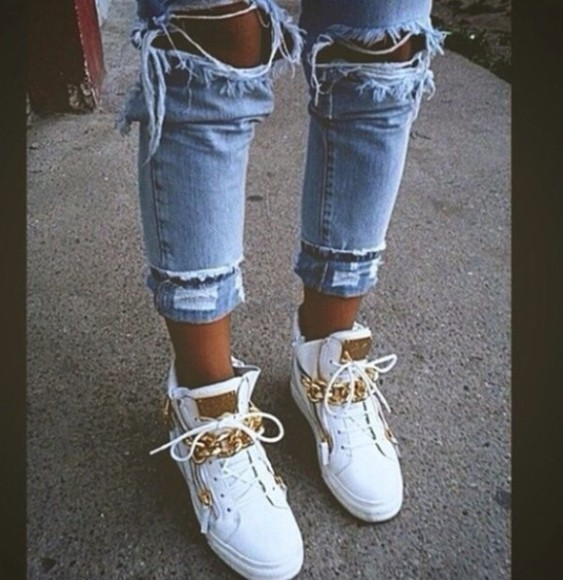white shoes high top sneaker nike gold sneakers jeans cute chain