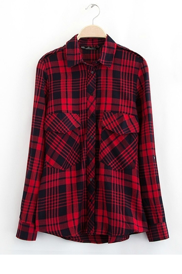 Classical Red Plaid Cotton Shirt [FDBI00417]- US$24.99 - PersunMall.com