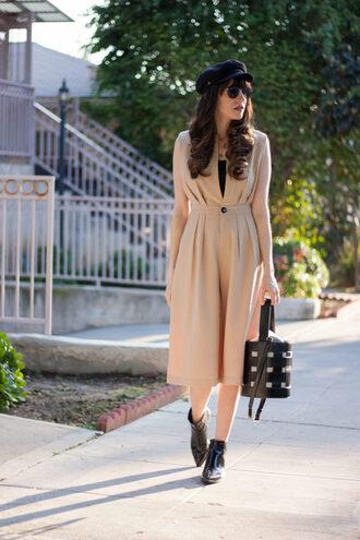 jeans and a teacup blogger romper jumpsuit bag shoes hat sunglasses beige jumpsuit ankle boots fisherman cap