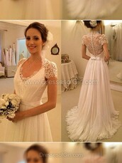 dress,a-line,v neck,chiffon,tulle skirt,sweep train,appliques,lace,wedding dress,lace dress,white dress,prom,wedding,maxi dress,bridal gown,lace wedding dress,cap sleeve wedding dresses,tulle wedding dress,elegant wedding dresses