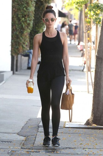 tank top top lily aldridge leggings sneakers purse sunglasses bag