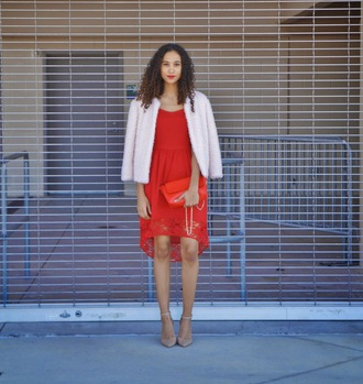 clothes to homme blogger fluffy white jacket red dress red bag nude high heels