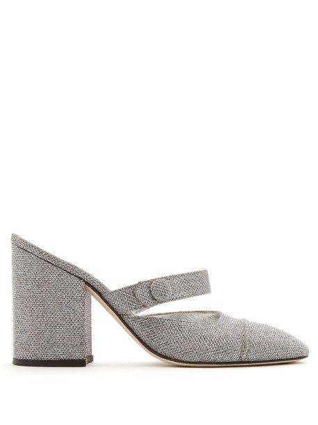 ALEXACHUNG heel mules silver shoes