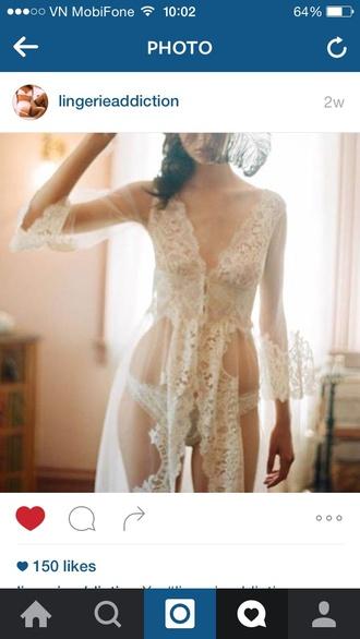 pajamas lace ootd outfit lingerie kimono fashion bralette bra white lace bralette floral kimono lacy dress