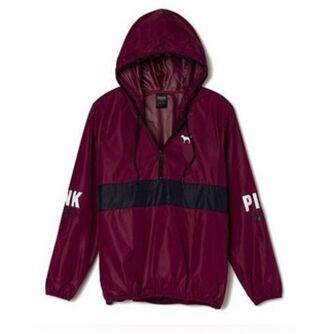 jacket pink burgundy cute black windbreaker victoria's secret