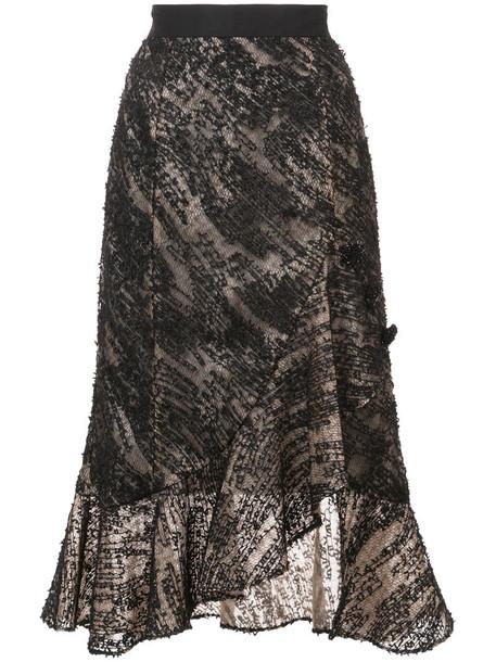 Prabal Gurung skirt embroidered style women black silk