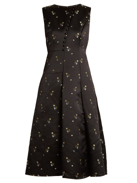 Erdem gown embroidered floral satin black dress