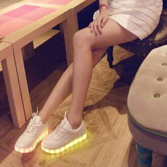 shoes tennis shoes white tumblr pale led light shoes light