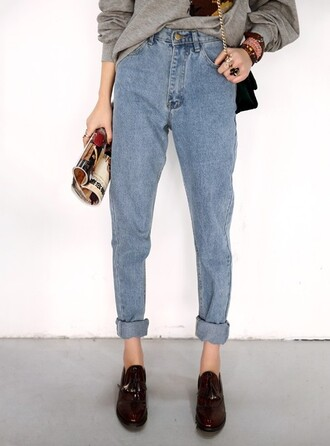 jeans high waisted jeans light blue hipster mom jeans shoes boyfriend jeans acid wash casual boyish french girl style