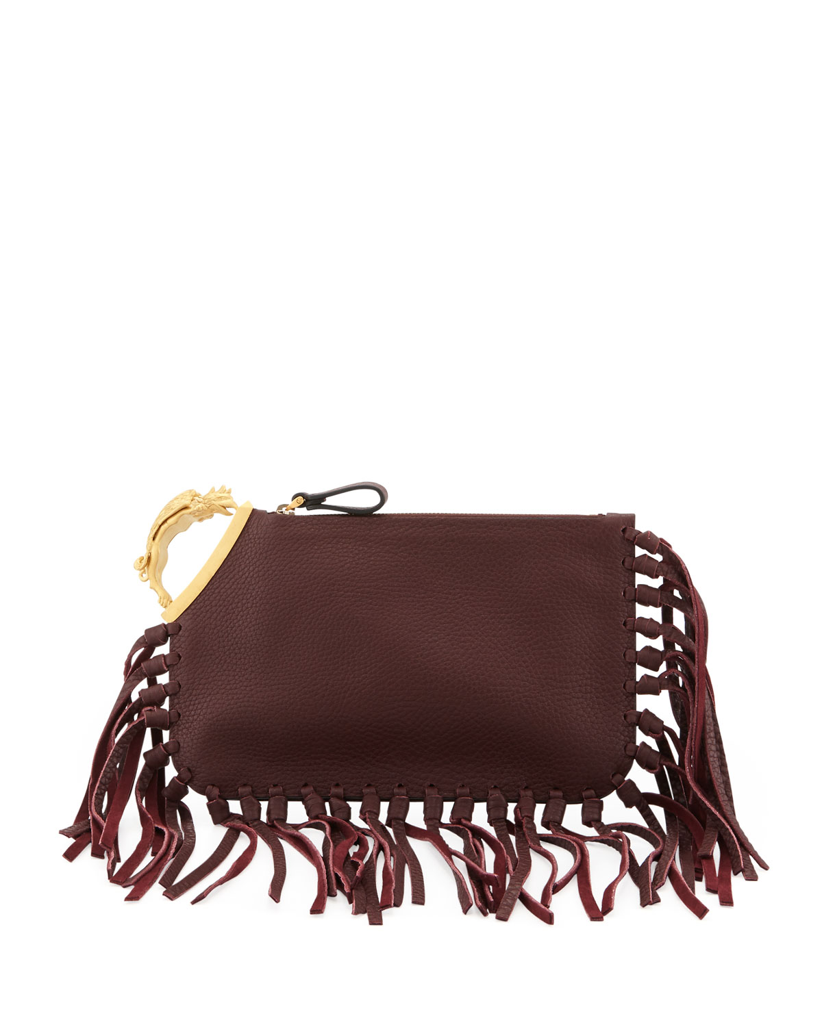 Valentino Gryphon Finger-Fringe Clutch Bag, Dark Red