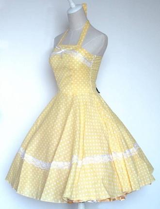 dress yellow dress polka dots 50s style vintage dress