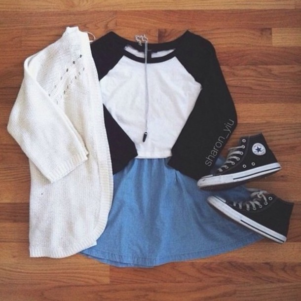 shirt black and white casual converse skirt