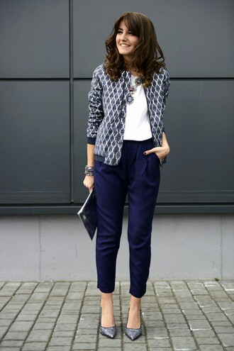 jacket pants grey pumps blue pants top white top spring outfits coat printed coat pointed toe pumps pumps lovely pepa blogger office outfits statement necklace necklace