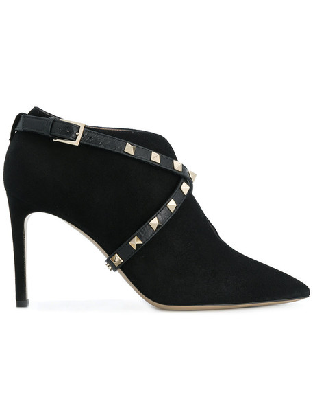 Valentino women boots leather suede black shoes