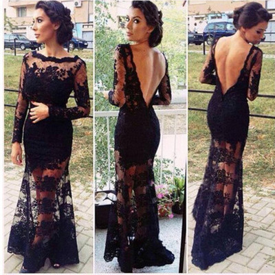 """romance me"" black backless laces maxi gown dress – glamzelle"