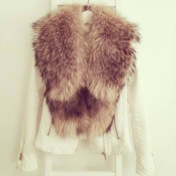 jacket white jacket clothes fur jacket, white, grey fur collar fur collar jacket