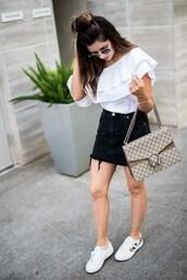 skirt,mini skirt,denim skirt,distressed denim skirt,one shoulder blouse,ruffle hem,gucci bag,white sneakers,blogger,blogger style,shoulder bag