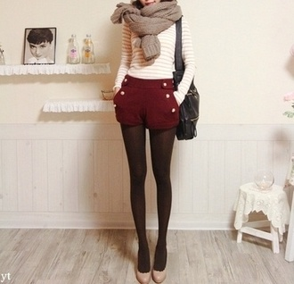 shorts cute red buttons military burgundy deep red pretty fall outfits autumn fashion short shorts burgundy high waisted sailor shorts high waisted shorts red shorts tights shirt scarf white stripes striped shirt top long sleeves audrey hepburn buttons on front leggings winter outfits christmas hipster vintage black bag shoes burgundy shorts