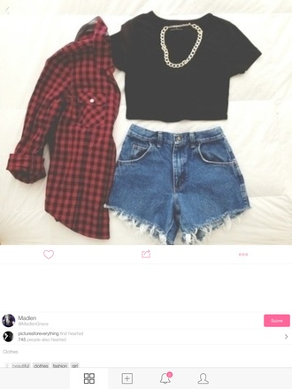 t-shirt jewels punk style summer outfits denim flannel shirt fashion high waisted shorts fall outfits blouse